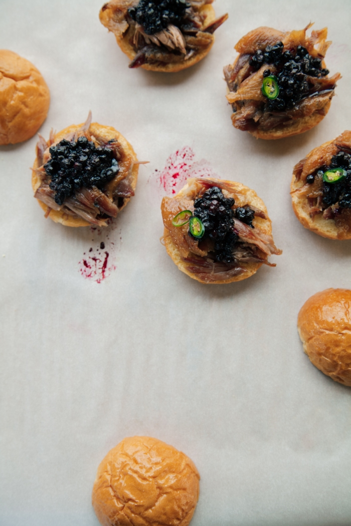 huckleberry duck confit sliders - lemon fire brigade