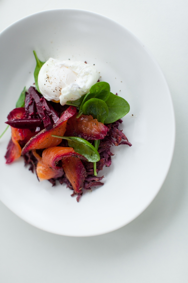 beetroot-+-dill-and-peppercorn-spiced-cured-salmon-with-crispy-kumara-rosti-and-poached-egg