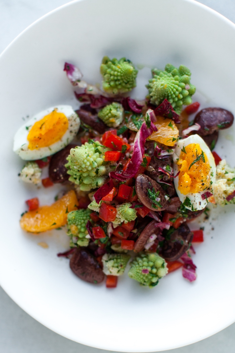 romanesco-and-christmas-lima-bean-salad-with-soft-boiled-eggs--