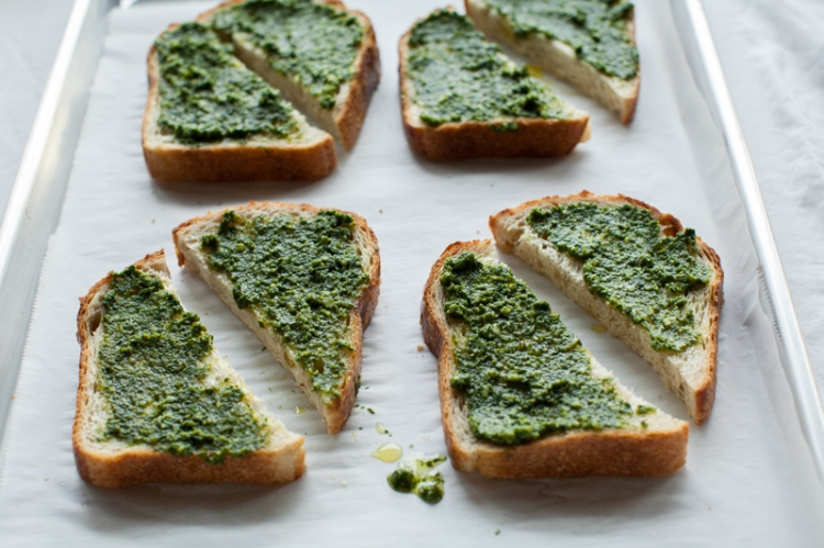 Smokey Carrot Bruschetta with Pesto - Lemon Fire Brigade