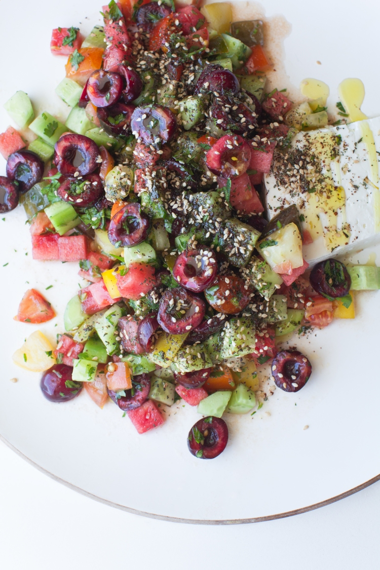Chopped greek salad with cherries, watermelon, and fresh oven toasted za'atar - Lemon Fire Brigade
