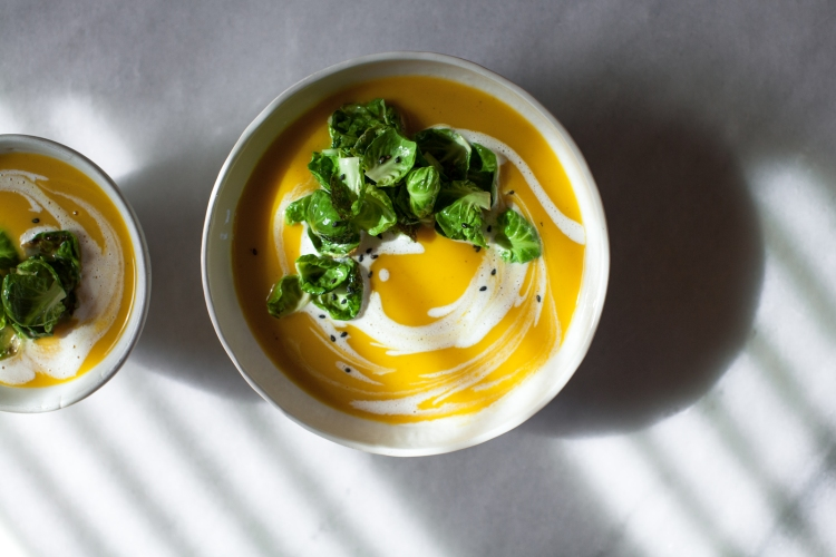 Spiced Butternut-Leek Soup with Brussels Sprout Leaves, Browned Butter, and Orange Crème Fraîche | Lemon Fire Brigade