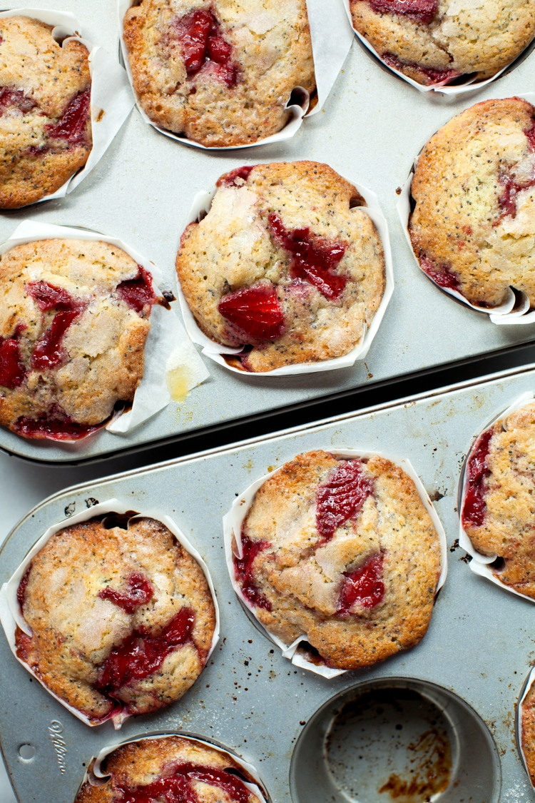 saucy strawberry poppyseed muffins | lemon fire brigade