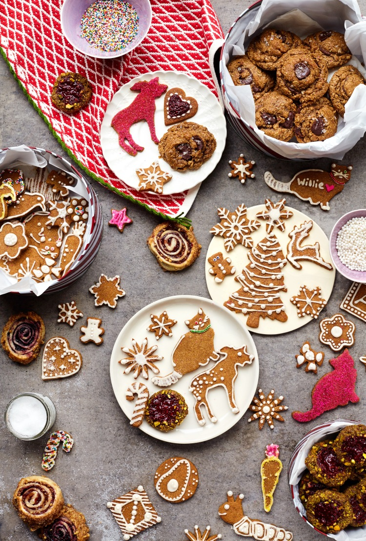 Chosen Foods Gluten-Free Holiday Cookies | Honey-Nut Sugar Cookies, Pistachio Chia Jam Wreaths, Oatmeal Chocolate Chips | Lemon Fire Brigade